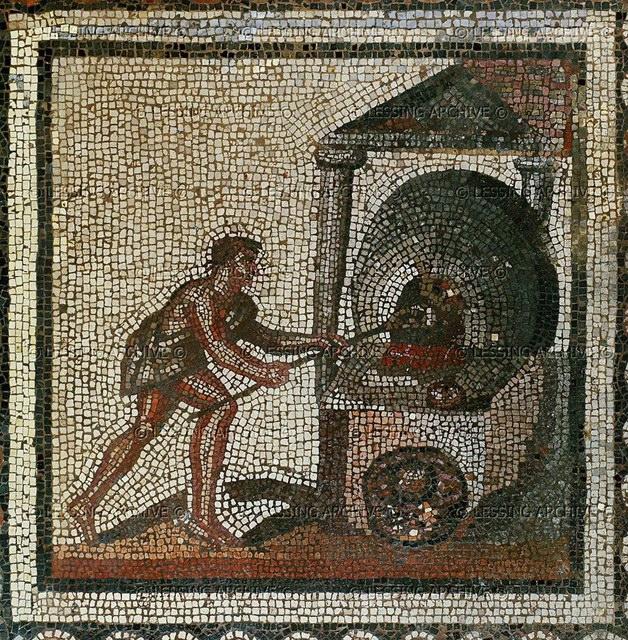 Древнеримская мозаика, изображающая выпекание хлеба