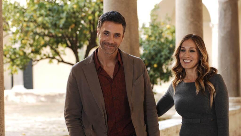Рауль Бова и Сара Джессика Паркер на съемках фильма «Все дороги ведут в Рим»