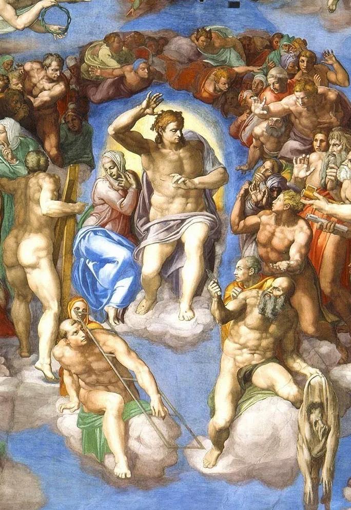 Фрагмент фрески Страшный суд Сикстинская капелла