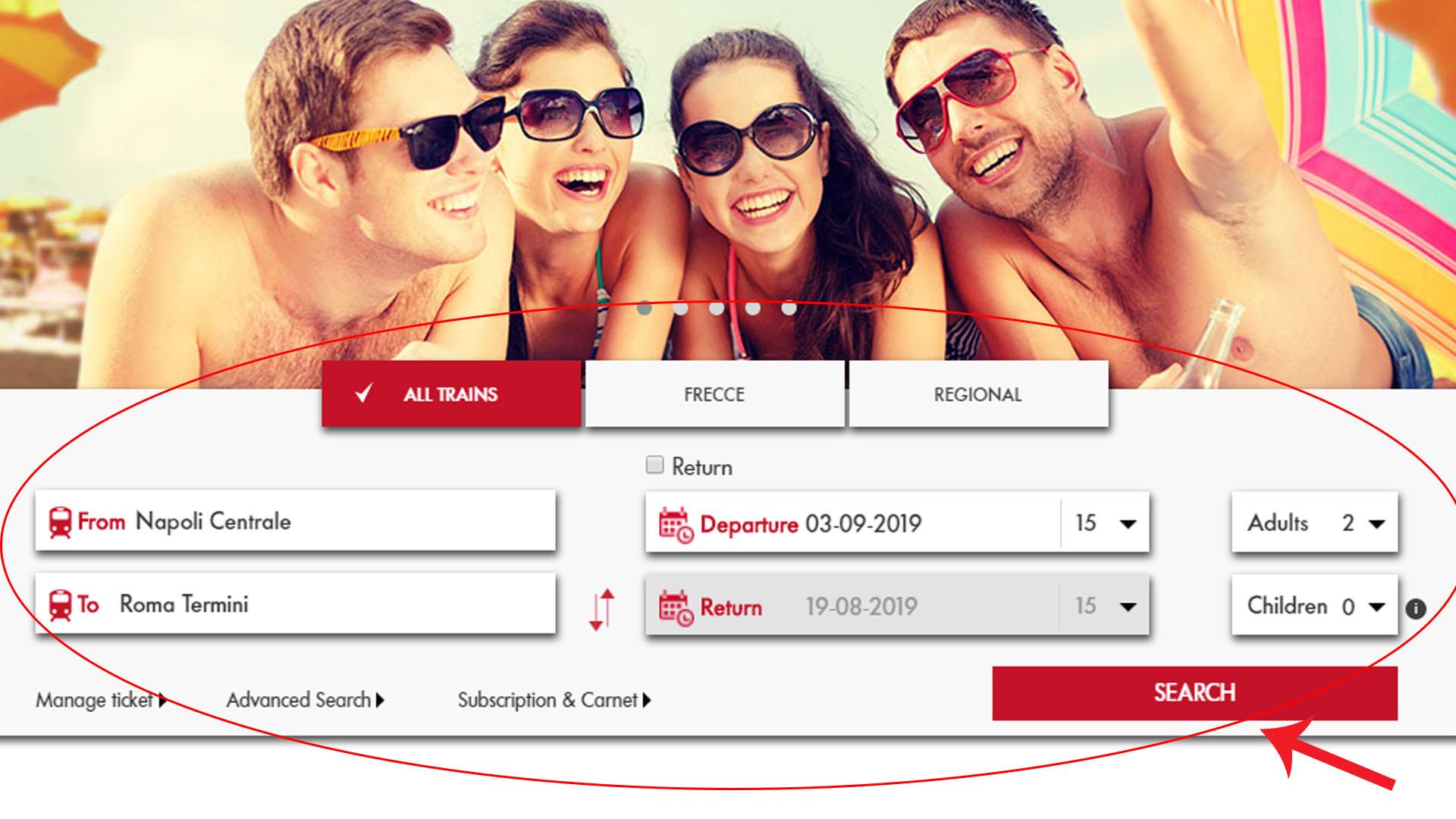 Как купить билет на поезд на сайте Trenitalia