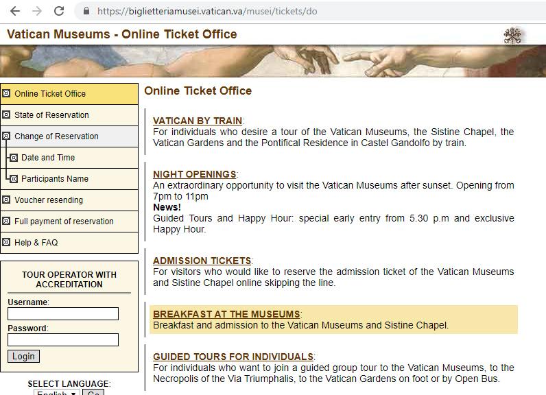 Как купить билеты в Ватикан с завтраком